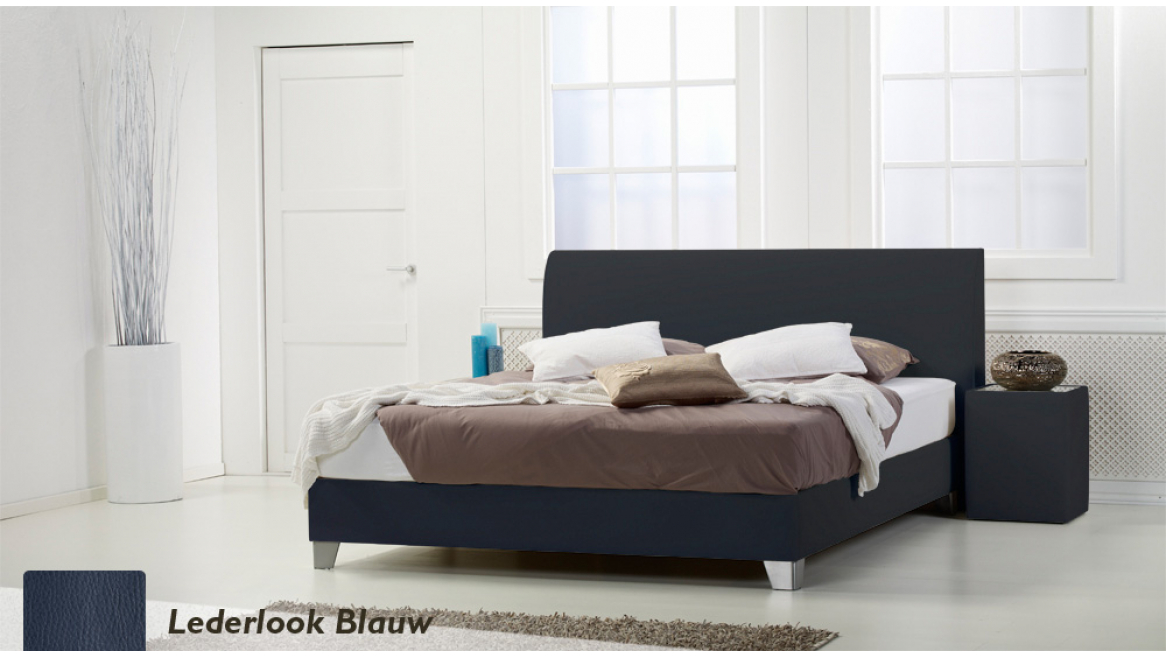 waterbed basic box pro lederlook blauw boxspring-look