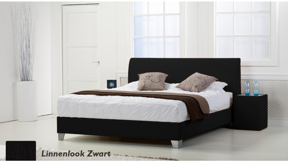 waterbed basic box pro linnenlook zwart boxspring-look