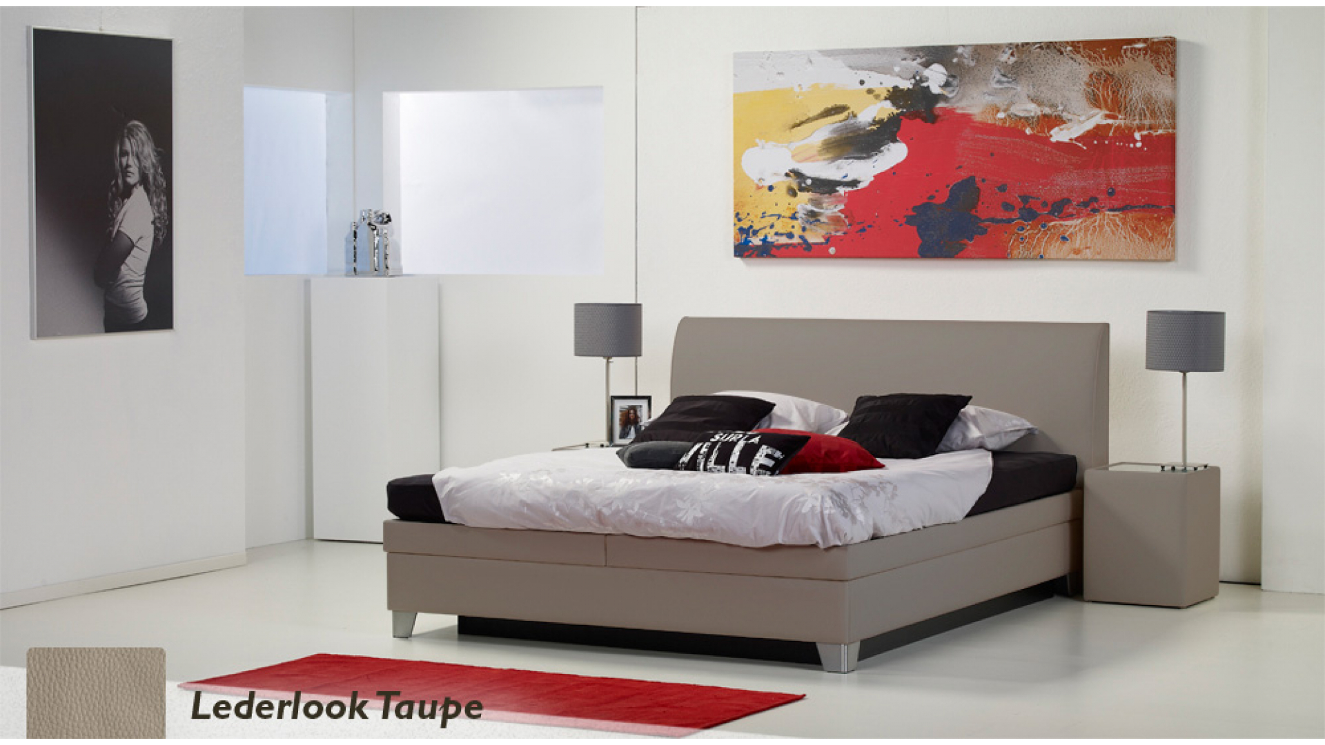 waterbed luxe box pro lederlook taupe