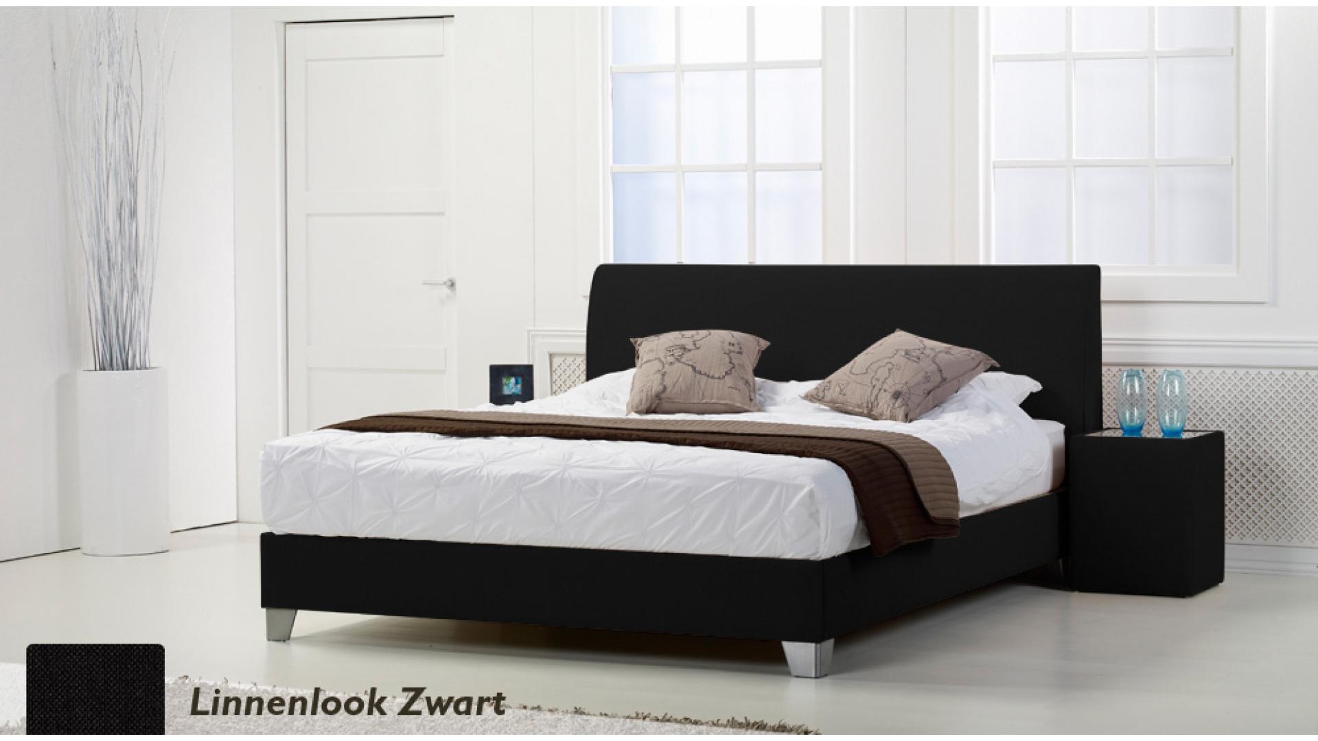 waterbed basic box pro linnenlook zwart boxspring-look