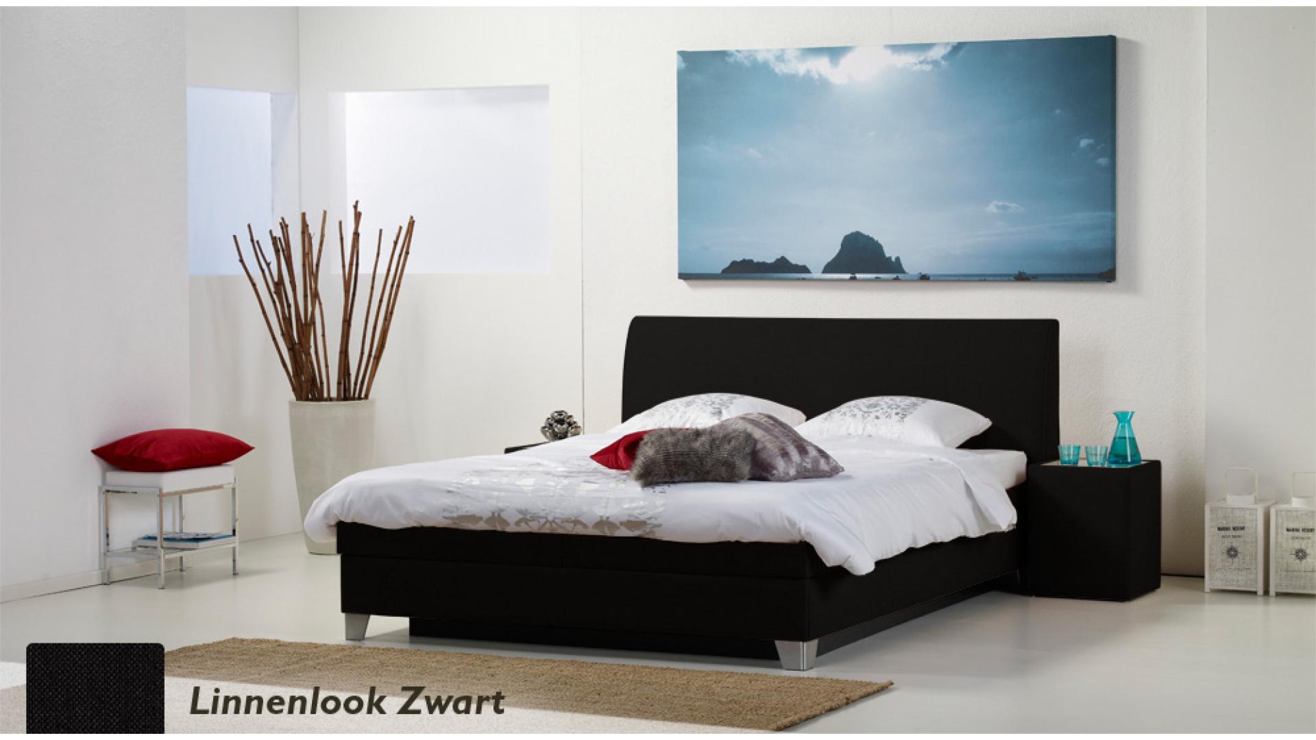 waterbed luxe box pro linnenlook zwart