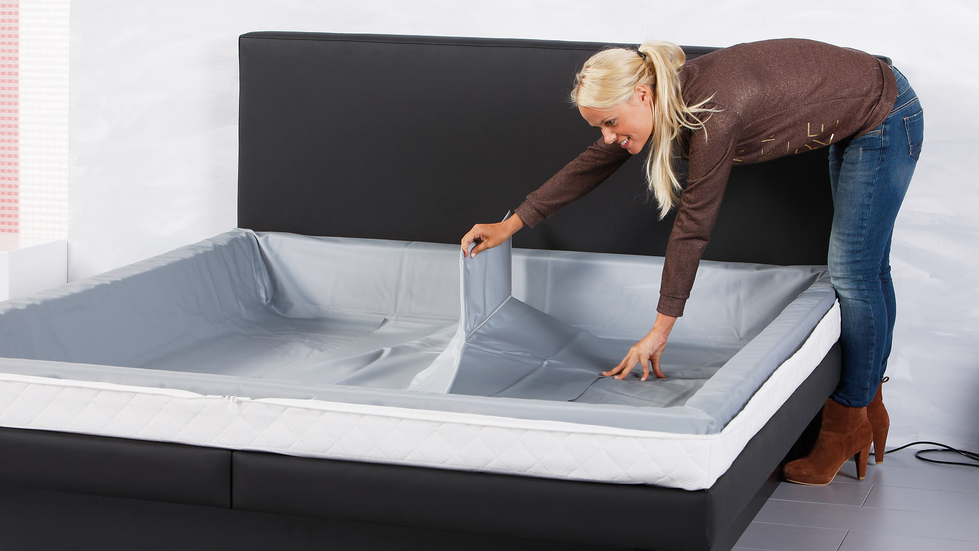 waterbed luxe thermo scheidingswand in het midden plaatsen