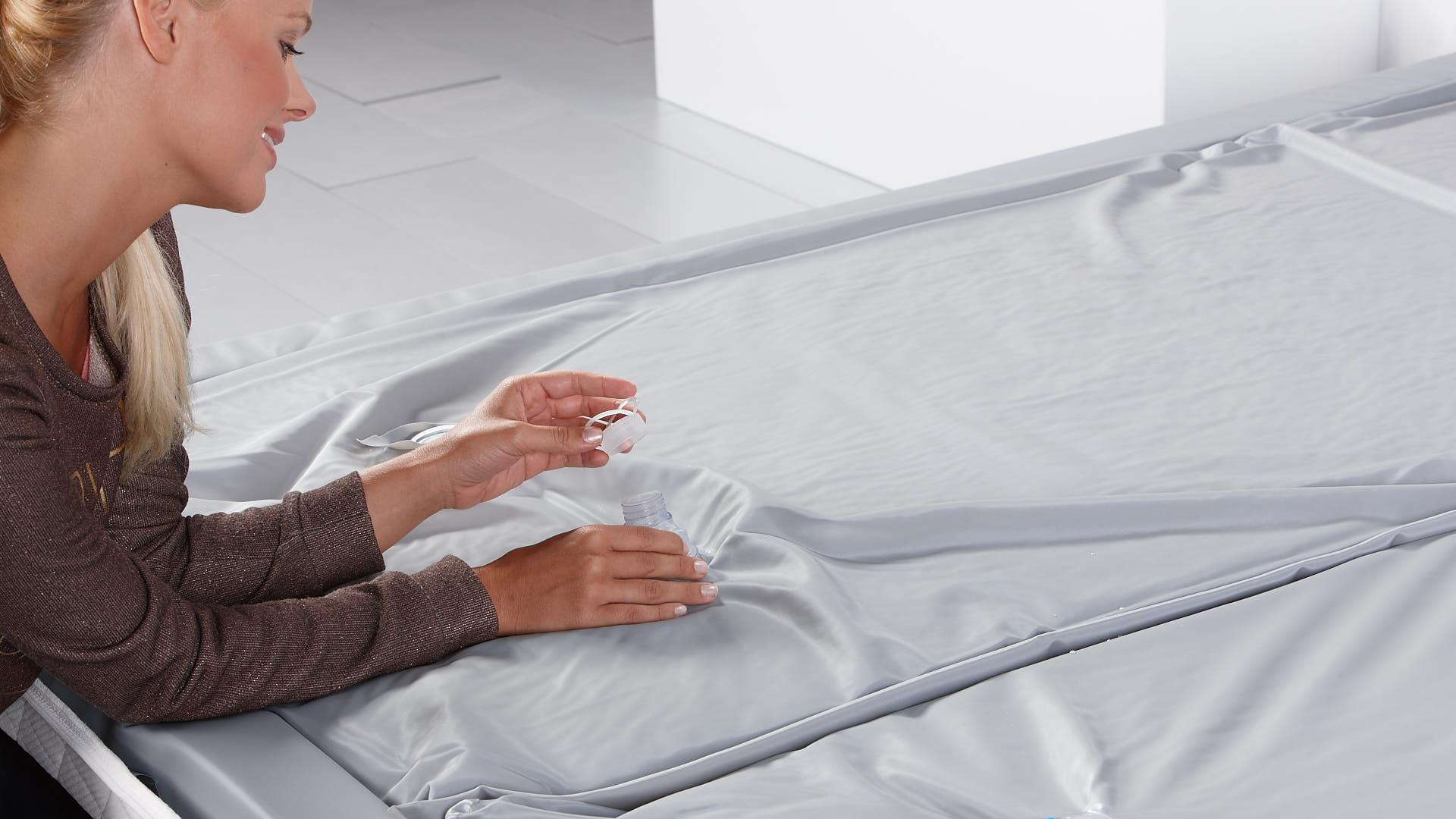 waterbed luxe watermatras afsluiten met afsluitdop