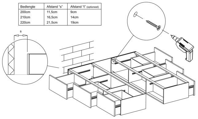waterbed met ladenblokken